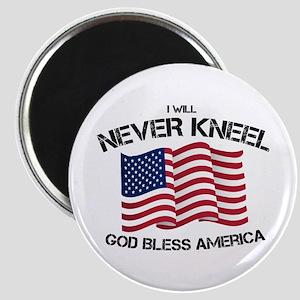 I will never kneel God Bless America Flag Magnets