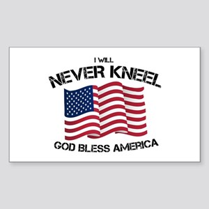 I will never kneel God Bless America Flag Sticker