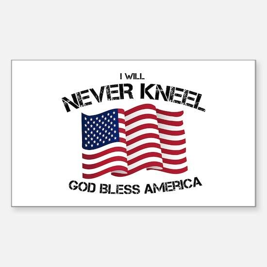 I will never kneel God Bless America Flag Decal