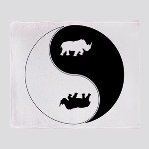 Yin Yang Rhinoceros Symbol Throw Blanket
