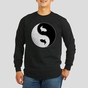 Yin Yang Rabbit Symbol Long Sleeve Dark T-Shirt