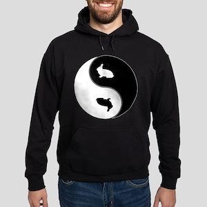 Yin Yang Rabbit Symbol Hoodie (dark)