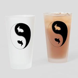 Yin Yang Rabbit Symbol Drinking Glass
