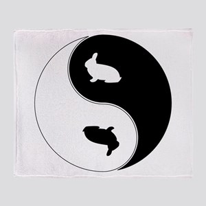 Yin Yang Rabbit Symbol Throw Blanket