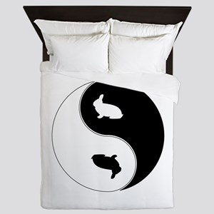 Yin Yang Rabbit Symbol Queen Duvet