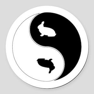 Yin Yang Rabbit Symbol Round Car Magnet
