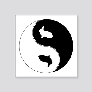 "Yin Yang Rabbit Symbol Square Sticker 3"" x 3"""