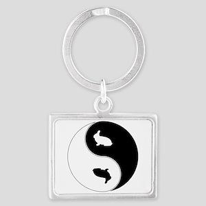 Yin Yang Rabbit Symbol Landscape Keychain