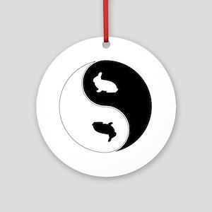Yin Yang Rabbit Symbol Ornament (Round)