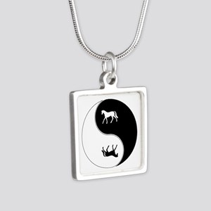 Yin Yang Horse Symbol Silver Square Necklace