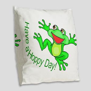 Hoppy Day Burlap Throw Pillow