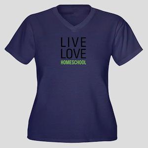 Live Love Ho Women's Plus Size V-Neck Dark T-Shirt