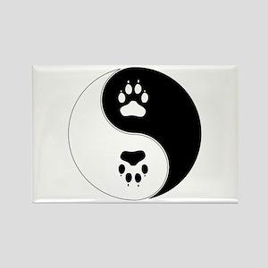 Yin Yang Paw Print Symbol Rectangle Magnet