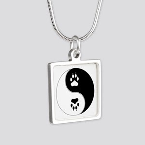 Yin Yang Paw Print Symbol Silver Square Necklace