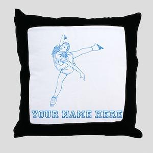Custom Blue Figure Skater Throw Pillow
