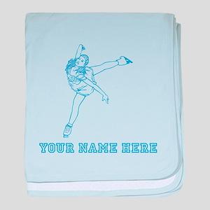 Custom Blue Figure Skater baby blanket