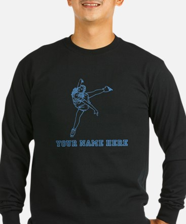 Custom Blue Figure Skater Long Sleeve T-Shirt