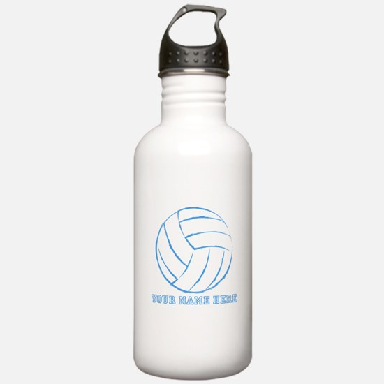 Custom Blue Volleyball Water Bottle