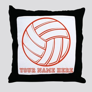 Custom Red Volleyball Throw Pillow