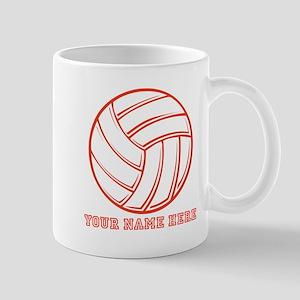 Custom Red Volleyball Mugs
