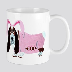 Basset Hound In Pink Bunny Suit Mugs