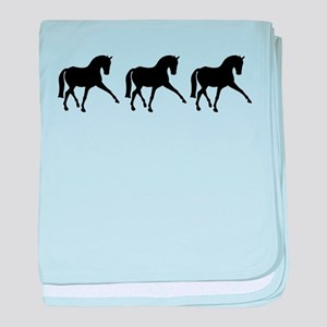 Dressage Horse Sidepass Trio baby blanket
