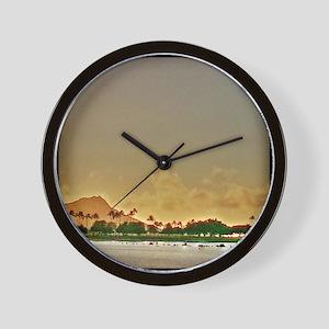 Diamond Head Sunset Wall Clock