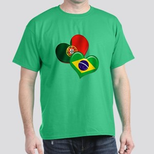 Portugal and Brazil hearts Dark T-Shirt