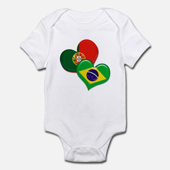 Portugal and Brazil hearts Infant Bodysuit