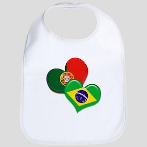 Portugal and Brazil hearts Bib