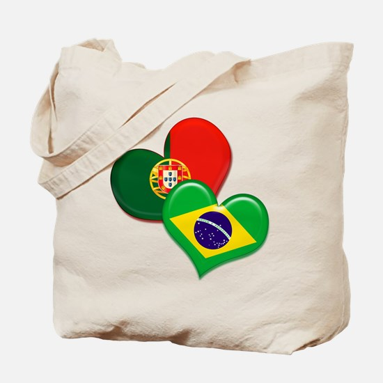 Portugal and Brazil hearts Tote Bag
