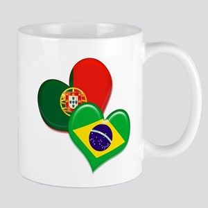 Portugal and Brazil hearts Mug