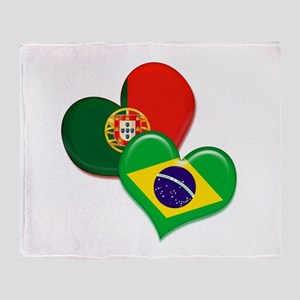 Portugal and Brazil hearts Throw Blanket