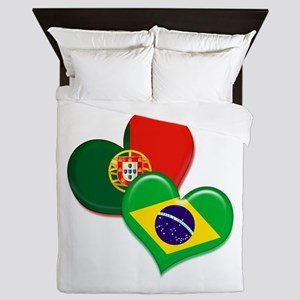 Portugal and Brazil hearts Queen Duvet
