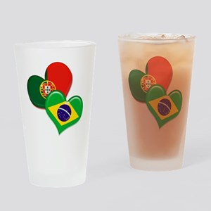 Portugal and Brazil hearts Drinking Glass