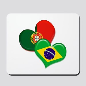 Portugal and Brazil hearts Mousepad