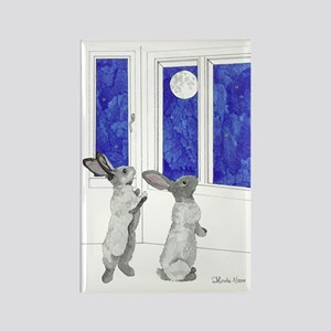 Rabbit Moon Rectangle Magnet