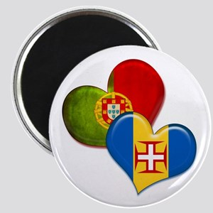 Portugal and Madeira hearts Magnet