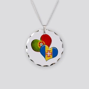 Portugal and Madeira hearts Necklace Circle Charm