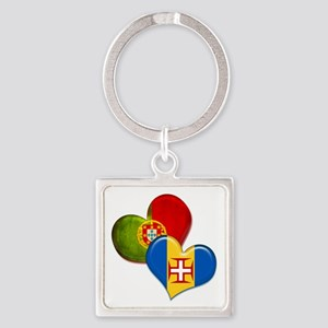 Portugal and Madeira hearts Square Keychain