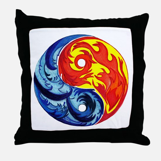 Yin-Yang Fire and Ice Throw Pillow