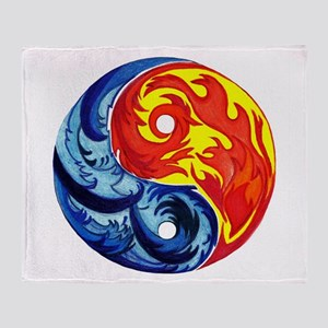 Yin-Yang Fire and Ice Throw Blanket