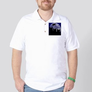 Black Cat and Witch Halloween Golf Shirt
