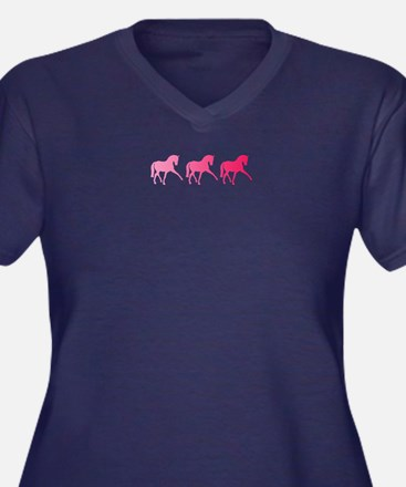 Dressage Hor Women's Plus Size V-Neck Dark T-Shirt