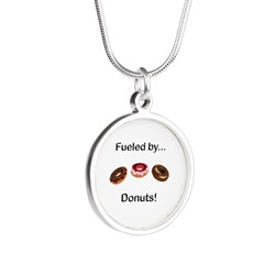 Fueled by Donuts Silver Round Necklace