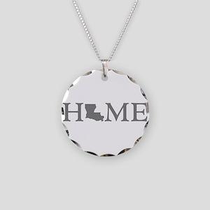 Louisiana Home Necklace Circle Charm