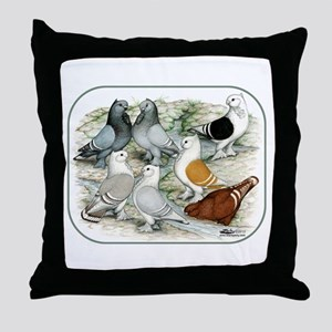 Classic Frill Barred Pigeons Throw Pillow