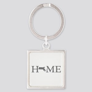 Massachusetts Home Square Keychain