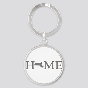 Massachusetts Home Round Keychain