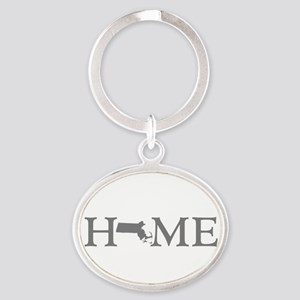 Massachusetts Home Oval Keychain
